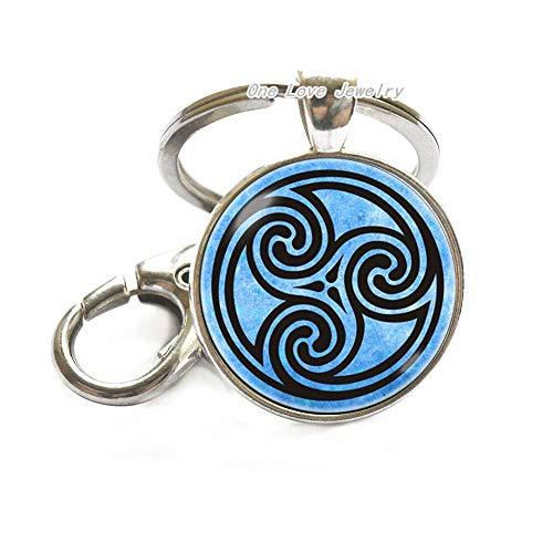 Celtic Circles Keychain Celtic Jewelry Celtic Ornament Celtic Key Ring Ornament Keychain Triscilion Design Glass Key Ring Gift idea Blue,TAP361
