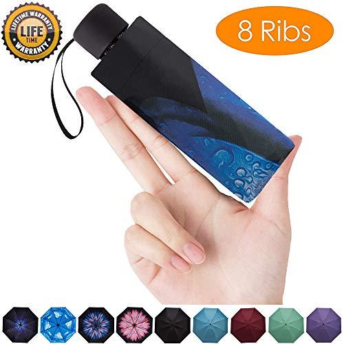 Goothdurs Mini-Reise-Regenschirm, kompakt, winddicht, klein, faltbar, leicht, Sonnen- und Regenschirme mit 95% UV-Schutz für Damen und Herren