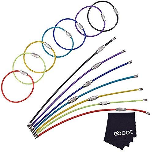 2 mm farbige Stahldraht Keychain Kabel Schlangenkette Schluesselring Spiraldraht, 14 Stück