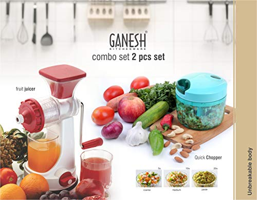 Ganesh Plastic Juicer and Chopper, 2-Piece, Multicolour