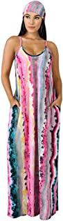 Women's Long Dress Casual Sexy Summer Stripe Sleeveless Maxi Dresses Floor Length Sundresses