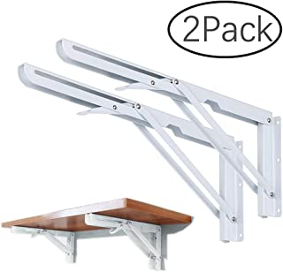 2PCS Folding Shelf Bracket, Wall Mount Support - Heavy Duty Fold Table Hinge Brackets - Polished Stainless Steel Spring Loaded Supports for Undermount Sinks, Microwave, Beds and Other Furniture
