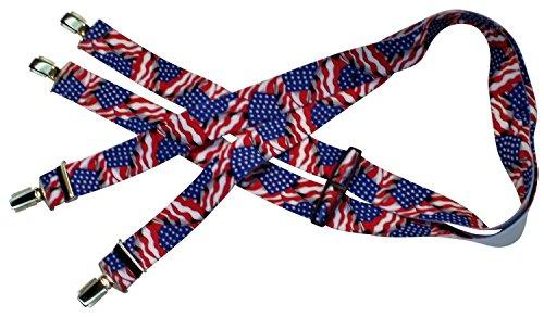 Amerikanische Hosenträger | USA-Flagge | Stars and Stripes | Damen und Herren | One Size 120 cm | Anzug-Hosenträger | Arbeitskleidung-Hosenträger | Teichmann