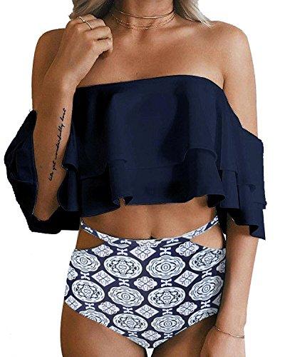 Tempt Me Women Two Piece Swimsuit High Waisted Ruffled Flounce Bikini Blue XL