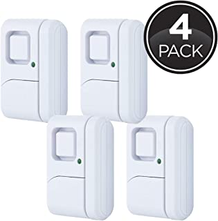 GE Personal Security Window/Door, 4-Pack, DIY Protection, Burglar Alert, Wireless, Chime/Alarm, Easy Installation, Ideal for Home, Garage, Apartment, Dorm, RV and Office, 45174, 4 Pack, Other, 4