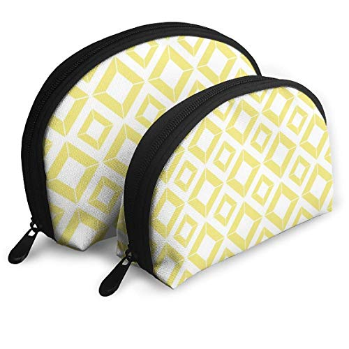 XCNGG Abstract Geometric Pattern Gold And White Shell Shape Portable Bags Clutch Pouch Coin Purse Cosmetic Bag Unisex Travel Storage Baging Multifunction Child Wallet Key Case Handbag 2 Pcs