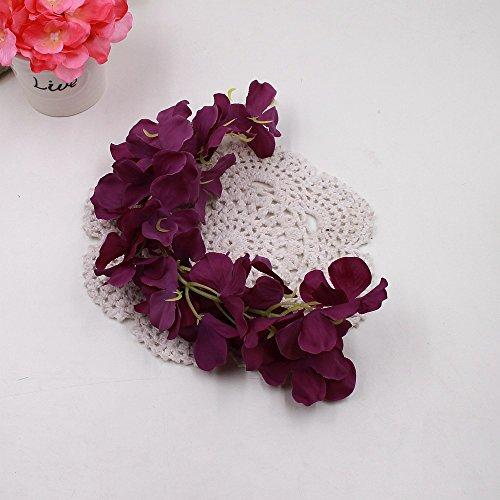 Youlala Fashion Hortensie Party Romantische Hochzeit Dekorative Seide + Kunststoff Blumen Seide Wisteria Home Dekoration, Deep Purple, 12#
