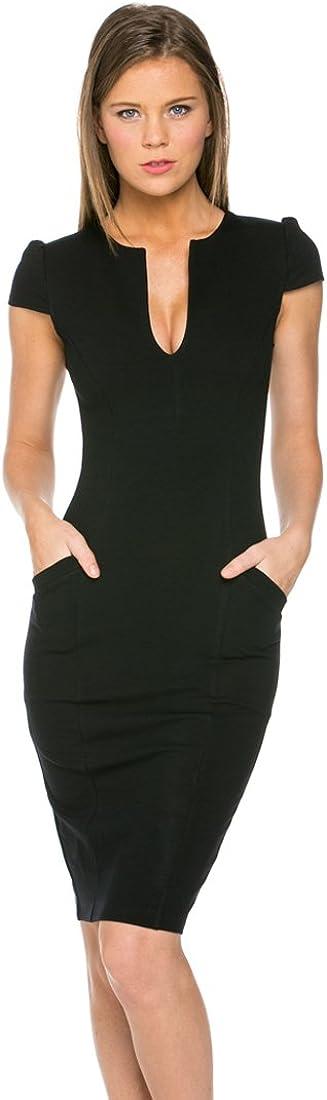 Zoozie LA Front Neck Split Midi Dress with Pockets
