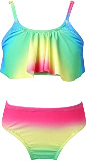 easyforever Kids Girls Two Piece Tropical Palm Printed Tankini Swimsuit Crop Top with Bottom Bikini Outfit Swimwear
