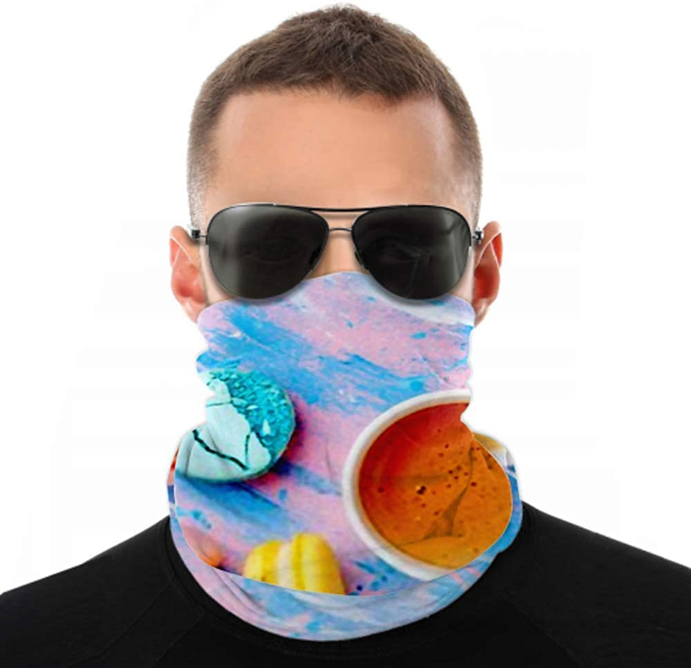 Headbands For Men Women Neck Gaiter, Face Mask, Headband, Scarf Cake Macaron Macaroon Cup Coffee On Turban Multi Scarf Double Sided Print Running Headband For Sport Outdoor