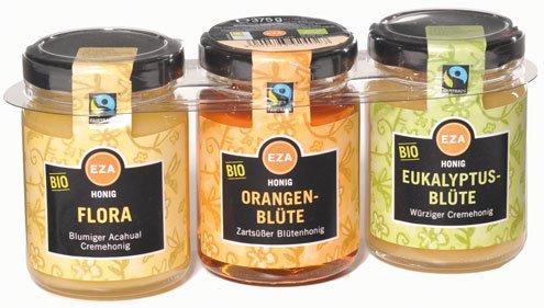 Fairtrade EZA Bio Honig-Trio (Flora Acahual-, Orangenblüten- und Eukalyptusblütenhonig), Portionsgläser - 375gr