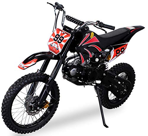 Actionbikes Motors Midi Kinder Jugend Crossbike JC125 125 cc - Hydraulische Scheibenbremsen - CDI Zündung - Bis 80 Km/h (Schwarz)