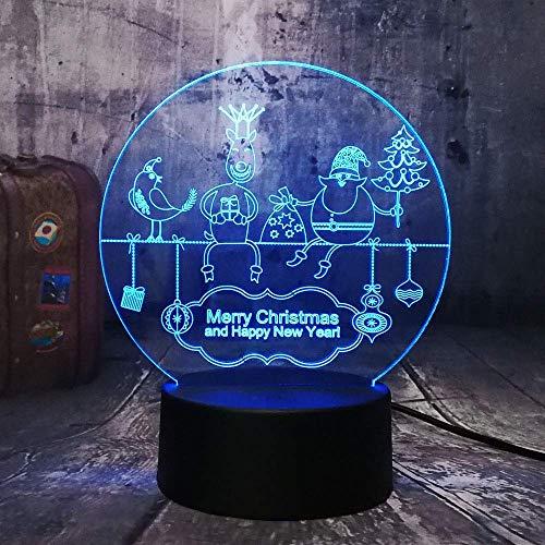 Lampe De Nuit 3D Illusion, Bonne Année Santa Claus Rgb Baby Sleep Lampe De Table Remote Home Lustre Joyeux Noël Cadeau 7 Couleurs Changeant Progressivement 3D Mood Lights Lampe De Table