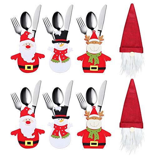 8 Pezzi Decorazioni Per La Tavola Di Natale, Porta Posate Natalizie Cena, Babbo Natale, Pupazzo Di Neve, Renna, Gnomo Cappelli Per Bottiglie Tasche Posate Per Forchetta Cucchiaio Decorazione