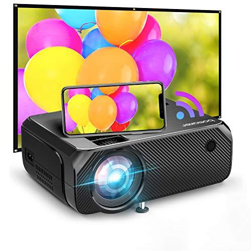 Proyector WiFi, 2020 Actualizado BOMAKER 5000 Lúmenes Resolución Nativa 720P Inalámbrico Mini Cine en Casa Portátil, Soporte Full HD 1080P, Pantalla de 300 Pulgadas, HDMI/USB/VGA/AV/Micro SD, GC355