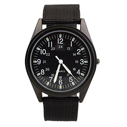 City Armbanduhr mit schwarzem Zifferblatt, Nylon-Stoffband, leichte modische Armbanduhr