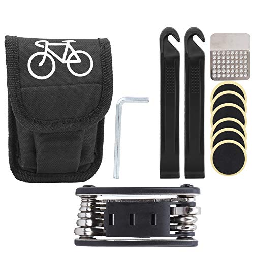 Bnineteenteam Herramienta de Bicicleta 16 en 1, Kit de Herramientas de combinación de Bicicleta de montaña Multifuncional, Equipo de Ciclismo, Herramientas portátiles para Reparar neumáticos