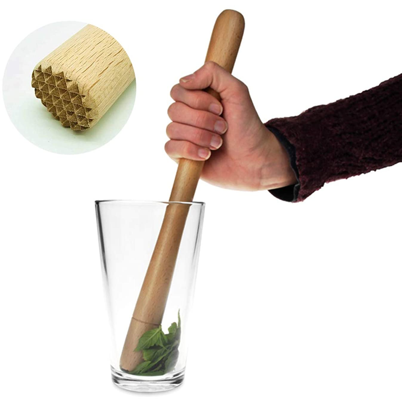 Wooden Mojito Muddler - Durable Cocktail Muddler 12in/300mm, Stable Muddled Fruit Mint Lime Lemon Herb - ML08