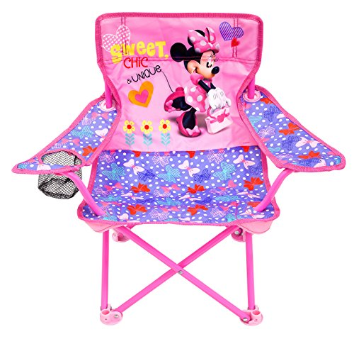 Jakks Pacific Minnie Camp Chair for Kids, Portable Camping Fold N Go Chair with Carry Bag, Minnie - Bows