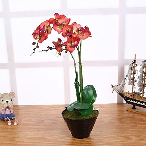 Künstliche Orchideen im Topf Rot mit 3 Rispen 55cm I ECHT WIRKEND I Kunstblume Phalaenopsis Orchideen Deko Kunstpflanze
