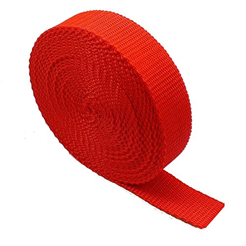 The Bead Shop - 5 Metres - Heavy Duty Polypropylene Webbing Strap Tape for Rucksack, Backpacks, Luggage/Cargo Strapping, Belts (Red, 50mm)