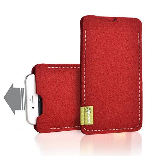"""Almwild® Hülle Tasche passend für Apple iPhone 11 MIT Apple Leder Case/Silikon Case. BREITES Sleeve. Modell """"Dezenzi"""" Beeren- Rot aus Natur-Filz. Handyhülle Handytasche in Bayern handgefertigt"""