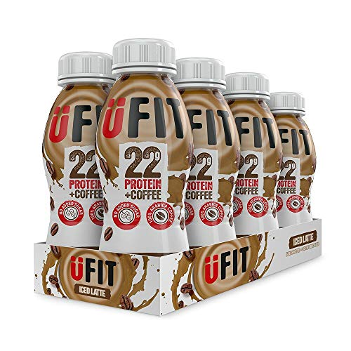 UFIT High 22g Protein Shake, No Added Sugar, Low Fat – Iced Latte Flavour Ready To Drink (Pack of 8 x 310ml)