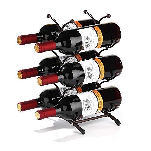 Z&HAO Estante De Metal para Vino, Estante para Vino De Pie, Estantes Rústicos para Exhibición De Vino, Hogar, Cocina, Almacenamiento, Barra, Bodega, Gabinete, Decoración, 6 Botellas De Vino