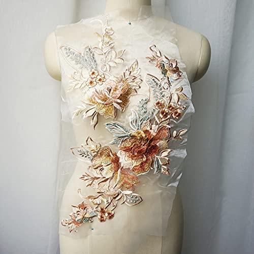 ZYING Grand Broderie Dentelle Fleur Applique Couture Collier Floral Collier Patch Robe de mariée vêtements de mariée Robe Bricolage Blanc Tulle Artisanat