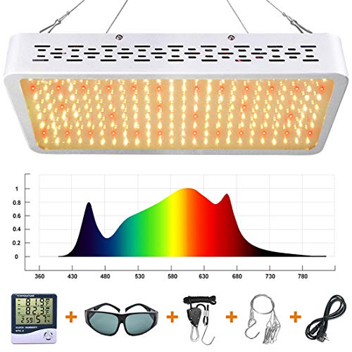 ONEO LED Grow Light 1000W Full Spectrum Sunlight 3500K White and Red 660nm Added Grow Lights for Indoor Plants, Better for Full Growth Flowering Fruiting VEG Seedling with Thermometer Hygrometer and Protective Glasses