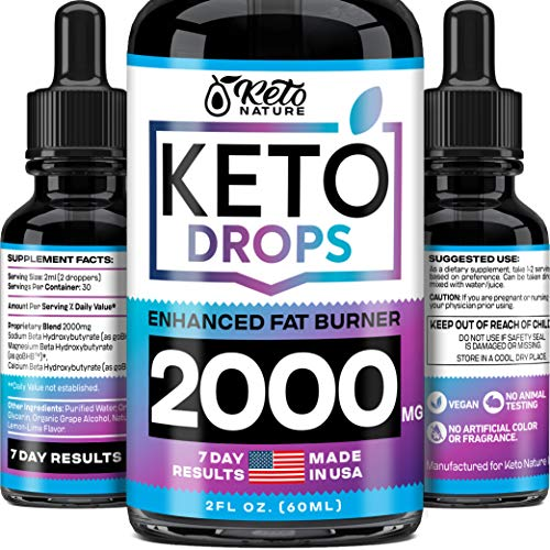 Keto Diet Drops with BHB Exogenous Ketones - Dietary Supplement Made in USA - Fat Burner & Appetite Suppressant for Women & Men - Keto Liquid with Better Absorption than Keto Pills - Keto Weight Loss