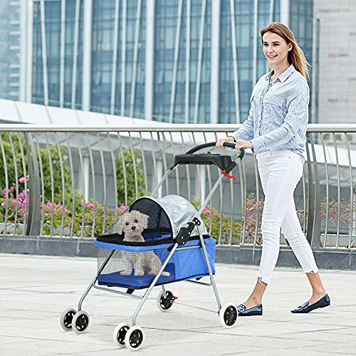 Pet Stroller Dog Stroller for Small Medium Dogs & Cats 4 Wheels Foldable Jogger Travel Stroller...