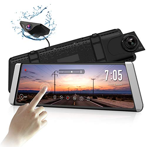 AUTO-VOX X1 Mirror Dash Cam Backup Camera 9.88'Full Touch Screen Stream Media Dual Lens AHD Reverse Camera,1296P FHD Front Camera and 720P Rear View Recorder Dash Cam with LDWS,GPS for trucks and cars