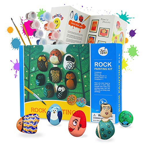 Jar Melo Rock Painting Kit for Kids ; Non-Toxic; Rock Craft Art Suppliers; Hide and Seek Rock; Arts and Crafts Kits for Adults and Kids-Classical Kits