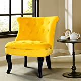 Yellow Gold Upholstered Chair/Jane Tufted Velvet Armless Accent Chair with Black Birch Wood Legs - Sunrise Yellow