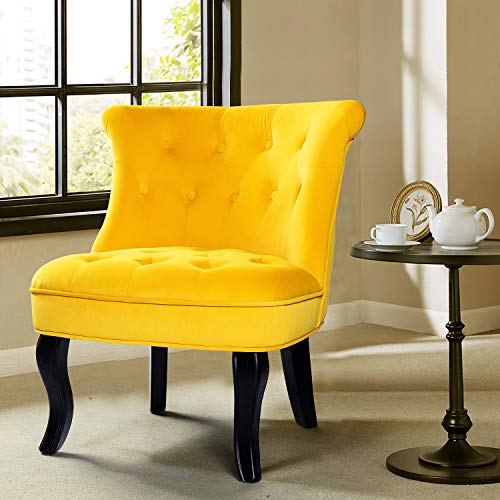 Yellow Upholstered Chair | Jane Tufted Velvet Armless Accent Chair with Black Birch Wood Legs - Sunrise Yellow