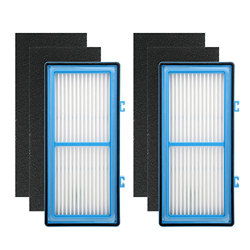 Colorfullife 2 HEPA + 4 Carbon Booster Filters for Holmes AER1 HEPA Type Total Air Filter Replacement Filters for HAPF30AT and HAP242-NUC