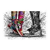 GYJDD Graffiti Pareja Zapatillas Arte de la Pared Street Graffiti Art Poster Print Lienzo Abstracto Imagen de Cuadro Decoración de la Sala de Estar del hogar 60x80cm Sin Marco