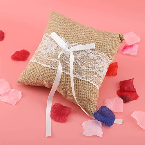 AUNMAS kant ingewikkelde linnen-ring-drager-kussen met satijnen band boog-trouwring-kussens voor bruilofts-verlovingsfeest-accessoires.