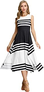 a41056daf902 Floryday Women Striped Midi Dresses Summer Sleeveless Swing Casual T-Shirt  Dress Casual Elegant Dress