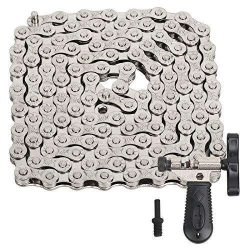 LOPOTIN 150cm Fahrradkette 116 Glieder Fahrrad Kette Bike Chain Robustem Schaltungskette Edelstahl Geschwindigkeitskette mit Kettennieter Ersatzketten für 6,7,8 Fach Rennrad Tourenrad Mountainbikes