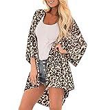 XKMY Kimono bohemio con estampado de leopardo para mujer, cárdigan de playa, para verano, vintage, manga femenina, túnica de bikini, traje de baño (color: marrón, tamaño: S)