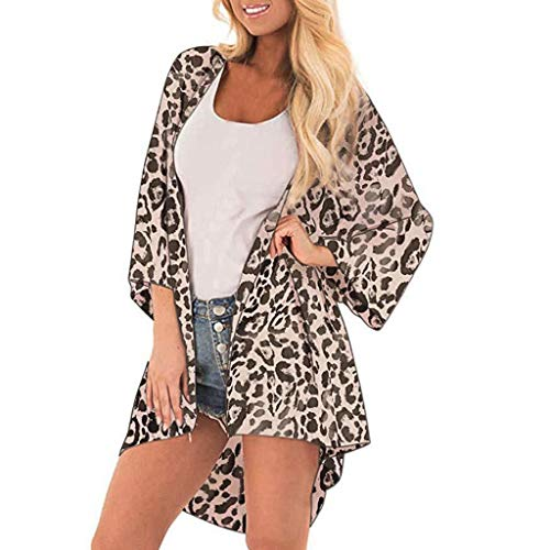 JERFERR Leopard Print Cover Casual Blusa Mujer Tops Kimono Bikini Cardigan Capes Cover Print Beach Cover-up Tops