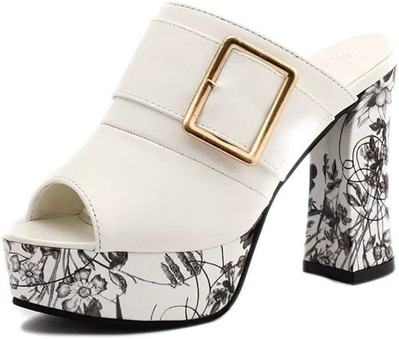 AVENBER Women's Slide Sandals Block Chunky Heel Platform Peep Toe Slip on Mules Clogs Summer shoes
