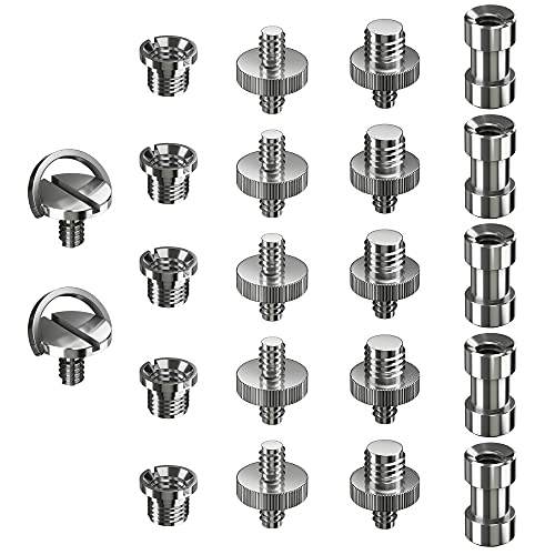 "Ventvinal Adaptador Rosca Tripode 22 Piezas Adaptadores de Metal Convierten Tornillos 1/4"" a 3/8"" para Trípode, Monopie,Cámara Réflex Digital,Videocámara, Soporte de Luz"
