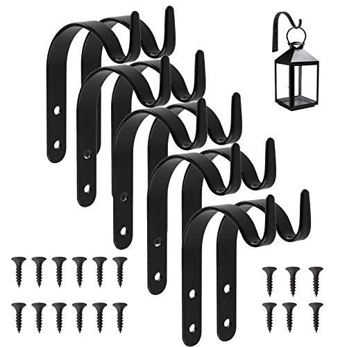 10 × Ganchos de Metal, Soportes Colgantes para Plantas de Jardín de Hierro de Pared, Soporte de Pared para cestas Colgantes, Ganchos y Colgadores para Plantas, Macetas/Campanas de Viento/Linternas