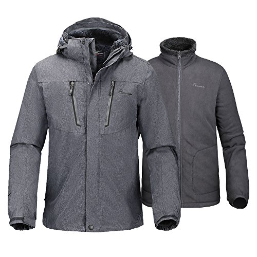 OutdoorMaster Men's 3-in-1 Ski Jacket - Winter Jacket Set with Fleece Liner Jacket & Hooded Waterproof Shell - for Men (Graphite,L)