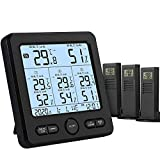 Wireless Thermometer Hygrometer, Indoor Temperature Humidity Monitor with 3 Remote Sensors, Multifunctional Temp Humidity Gauge Tester with Alert Clock Calendar for Home Office Greenhouse