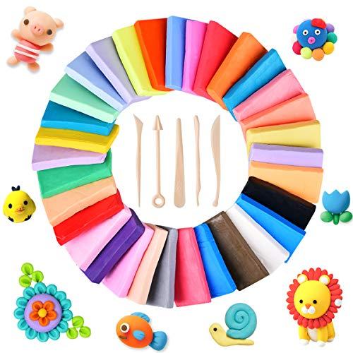 Upgrow Modelliermasse Lufttrocknend, Knete für Kinder 32 Farben Masse DIY Polymer Ton mit Zubehör Knete für fantasievolles und kreatives Spielen für Kinder ab 2 Jahren