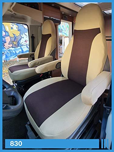Coprisedili per camper per conducente e passeggero, con braccioli inclusi, beige marrone, 830